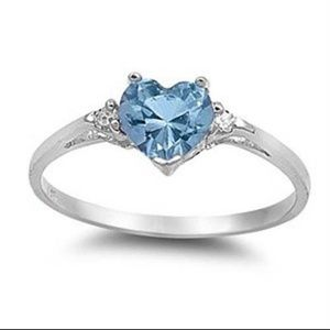 Jewelry - Blue heart shaped stone & 925 sterling silver ring